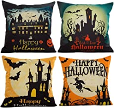 4-Pack Happy Halloween Square Decorative Throw Pillow Case Cushion Cover Bat Pumpkin