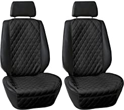 FH Group Car Front Seat Protectors Water Resistant Air Bag Compatible, (Two Pack) PU Leather Luxury Diamond Design Universal Seat Covers for Cars, Auto, Trucks, Vans & SUVs (Solid Black) w. Gift