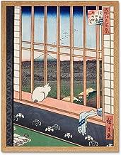 Hiroshige Asakusa Fields 100 Views Edo Cat Vintage Japanese Painting Art Print Framed Poster Wall Decor 12x16 inch