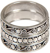 NOVICA .925 Sterling Silver Handmade Stacking Rings, Together' (Set of 3)