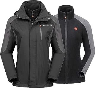 qualidyne Women's Ski Jacket Waterproof Hooded Windbreaker Mountain Rain Jacket with Inner Warm Fleece Coat