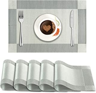 HOKIPO® PVC Vinyl Heat Resistant Placemats Set of 6 Dining Table Mats 45x30 cm, Silver (AR878)