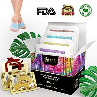 Premium Foot Pads 24 Pack |4 Aromas| Bonus 2 Gold Eye Masks | 100% All Natural Organic Body Cleansing Bamboo Vinegar Patches | Remove Stress, Pain, Sore Feet & Body Odor | Sleep Aid | FDA Certified