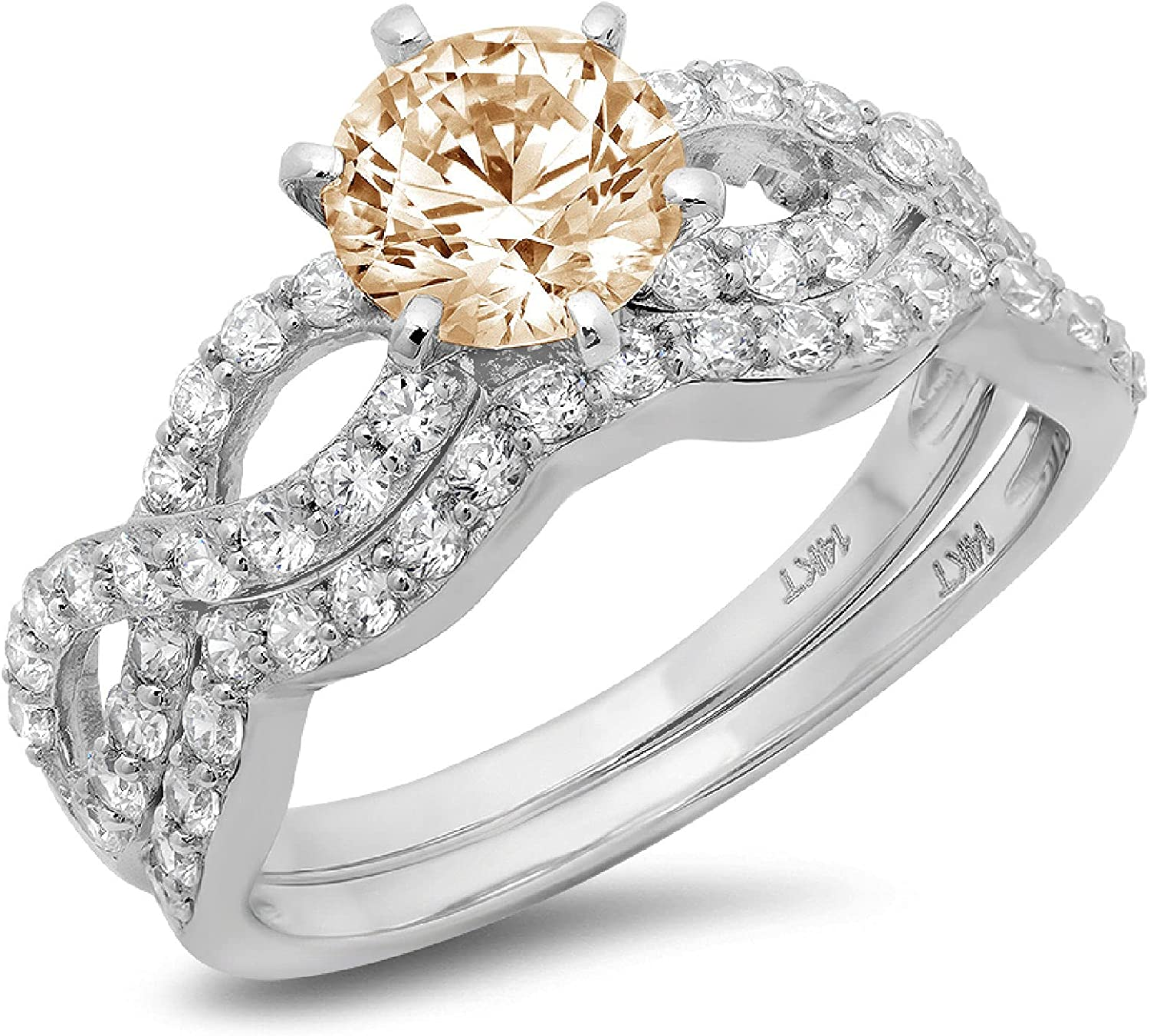 1.55ct Miami Mall Round Cut Halo Max 65% OFF Pave Solitaire Flawless Split Shank Accent