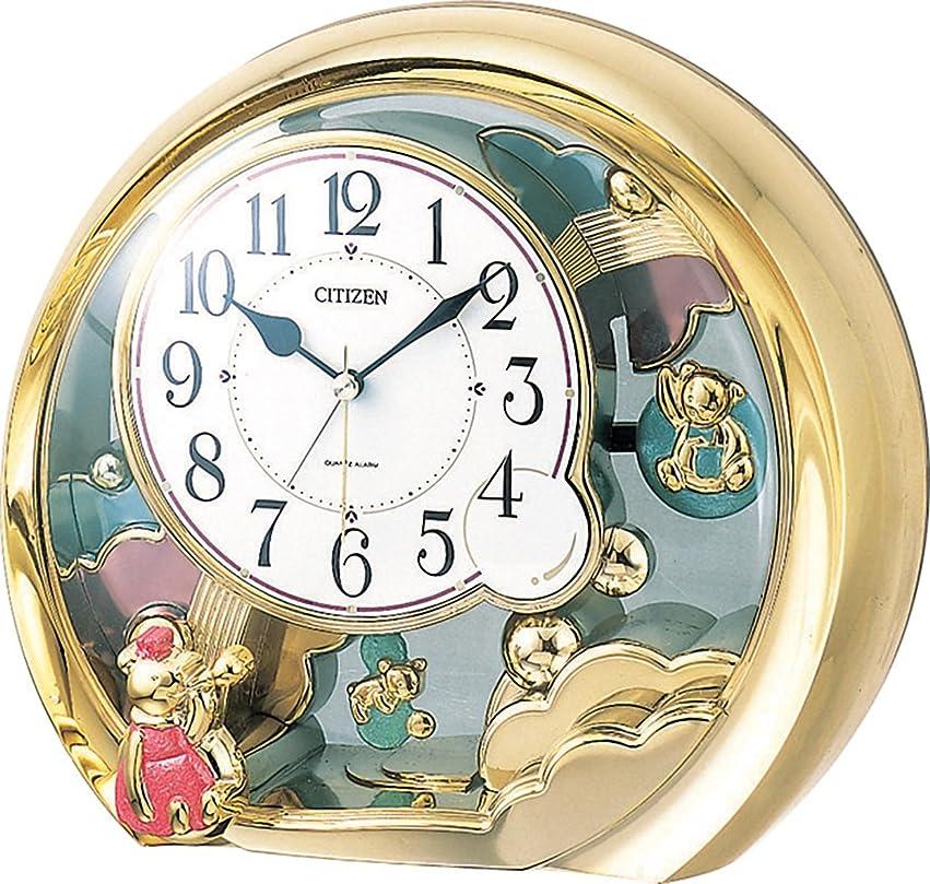 施設決定的しないでくださいシチズン 置き時計 アナログ ファンタジーランド504 電子音 目覚まし 機能付 金色 CITIZEN 4SE504-018