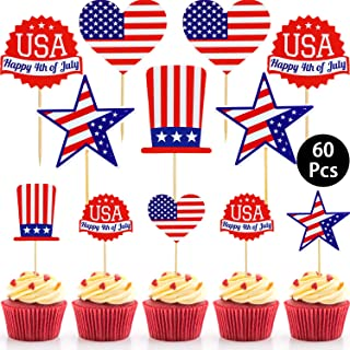 60 Pieces Patriotic Cupcake Toppers July 4th Toppers Picks Cake Topper for Independence Day Cake Decorations Party Supplies Patriotic Favors