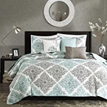 Madison Park Claire Leaf Geometric – 6 Piece Ultra Soft Microfiber Bed Quilted Coverlet, Full/Queen, Aqua