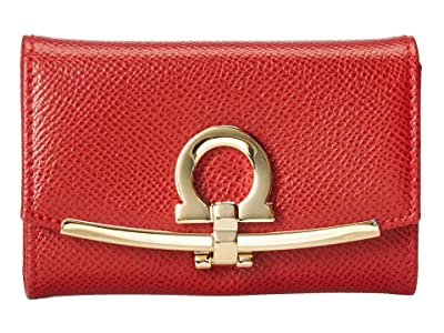 Salvatore Ferragamo Icona Ganchio Leather Key Case (Lipstick) Handbags