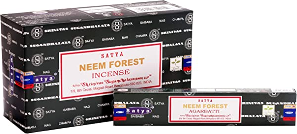 Satya Bangalore BNG Neem Forest Incense Sticks 12 Boxes X 15 G 180 Grams Total