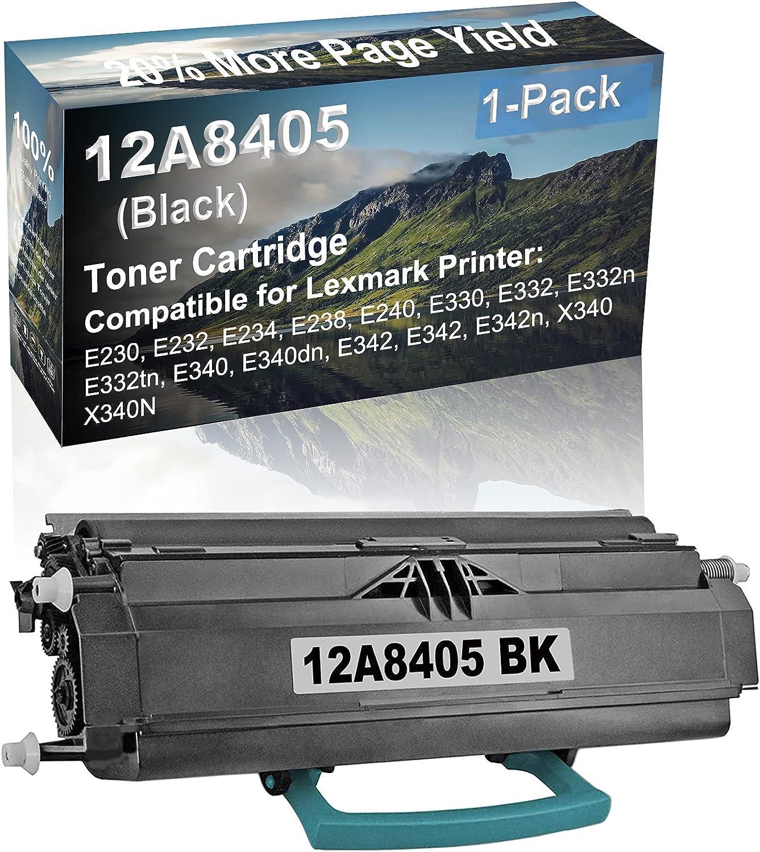 1-Pack Compatible High Capacity E332, E332n, E332tn, E340, E340dn Printer Toner Cartridge Replacement for Lexmark 12A8405 Toner Cartridge (Black)