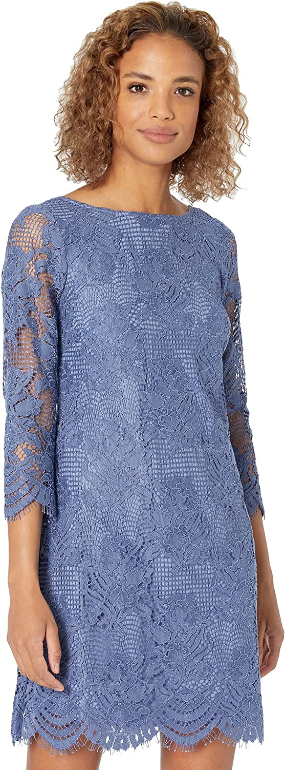 Vince Camuto Women's Lace 3/4 Sleeve Shift Dress with V-Back Scallop Trim