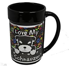 I Love My Schnauzer 15 oz Black Ceramic Coffee Mug with Metallic Graphics