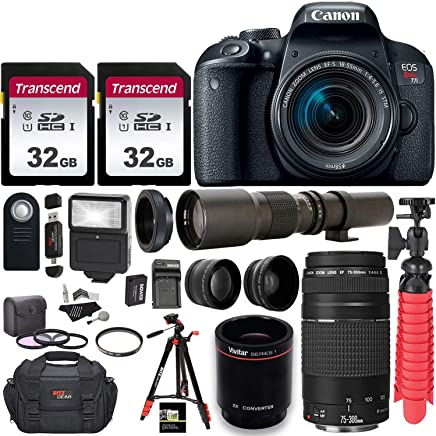 $859 Get Canon EOS Rebel T7i DSLR Camera with EF-S 18-55mm f/3.5-5.6 is II + EF 75-300mm f/4-5.6 III Dual Lens Kit + 500mm Preset f/8 Telephoto Lens W/ 2X (1000mm) HD Teleconverter + 0.43x Wide Angle, 2.2X Pro