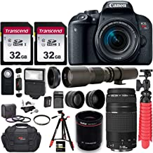 Canon EOS Rebel T7i DSLR Camera with EF-S 18-55mm f/3.5-5.6 is II + EF 75-300mm f/4-5.6 III Dual Lens Kit + 500mm Preset f/8 Telephoto Lens W/ 2X (1000mm) HD Teleconverter + 0.43x Wide Angle, 2.2X Pro