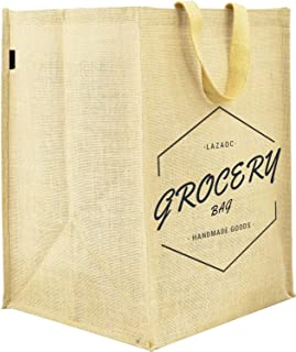 """Dote Twine Premium Natural Jute Burlap Multipurpose Grocery Bag with Cotton Webbed Handles, Size 12""""W x 17""""H x 13""""Gusset"""