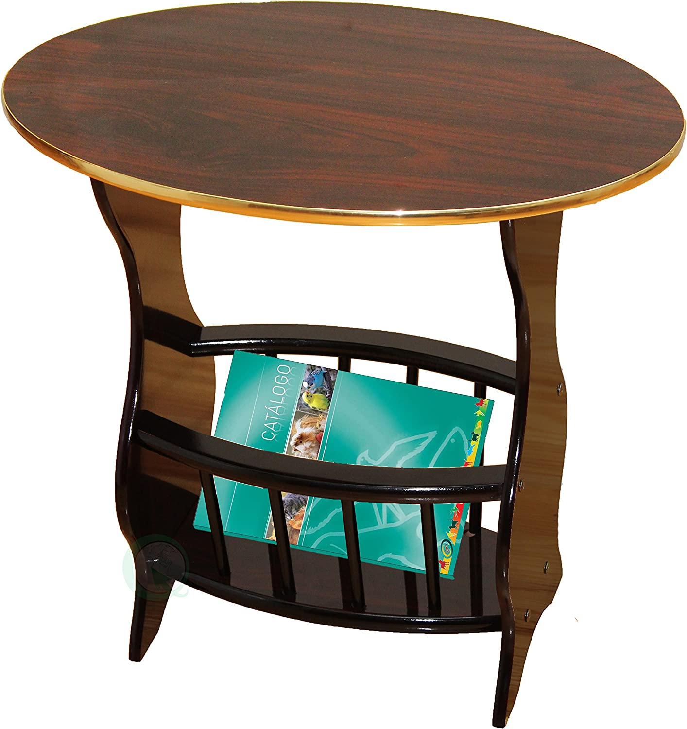 Uniquewise QI003138B Oval Side Table with Magazine Holder, Espresso Brown Finish