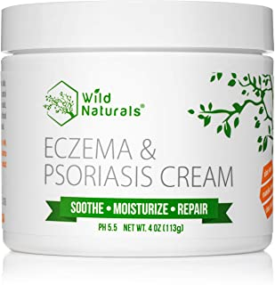 Wild Naturals Eczema Psoriasis Cream - for Dry, Irritated Skin, Itch Relief, Dermatitis, Rosacea, and Shingles. Natural 15...