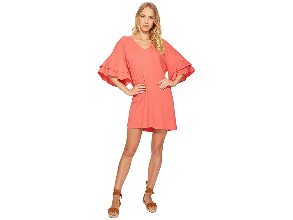 Lucky Brand Ruffle Dress (Spiced Coral) Women