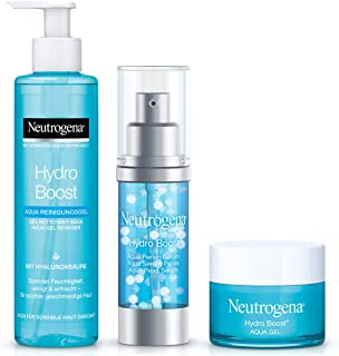 Neutrogena Hydro Boost Geschenkset Gesichtspflege: Hyaluron Serum, Gesichtscreme Aqua Gel und Reinigungsgel
