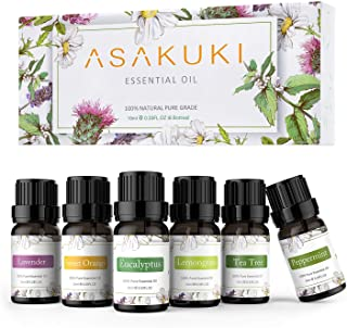 ASAKUKI Aromatherapy Essential Oils includes Lavender, Eucalyptus, Lemongrass, Tea Tree, Sweet Orange and Peppermint, Water-soluble Essential Oils for Diffuser and Humidifier, Ideal Gift Set 6 x 10ml