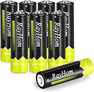 AA Rechargeable Batteries 2800mAh 8Pack - RayHom AA Rechargeable Batteries 1.2V 2800mAh Ni-MH Low Self Discharge Battery with case (8 Pack)