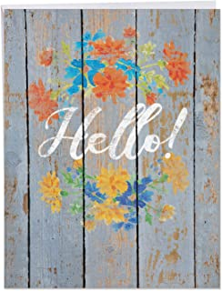 Beautiful 8.5 x 11 Inch All-Occasions Card w/Envelope - 'Blooming Driftwood' Orange and Blue Flowers and Hello Painted on Wooden Pallet, Blank Notecard for Personalized Message or Greeting J6108GOCG