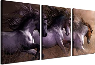 Gardenia Art - Animal Canvas Prints White Horses Wall Art Paintings Running Horse Pictures Artworks for Bedroom Living Room Decoration,16x24 inch/Piece, Unframed, 3 Panels