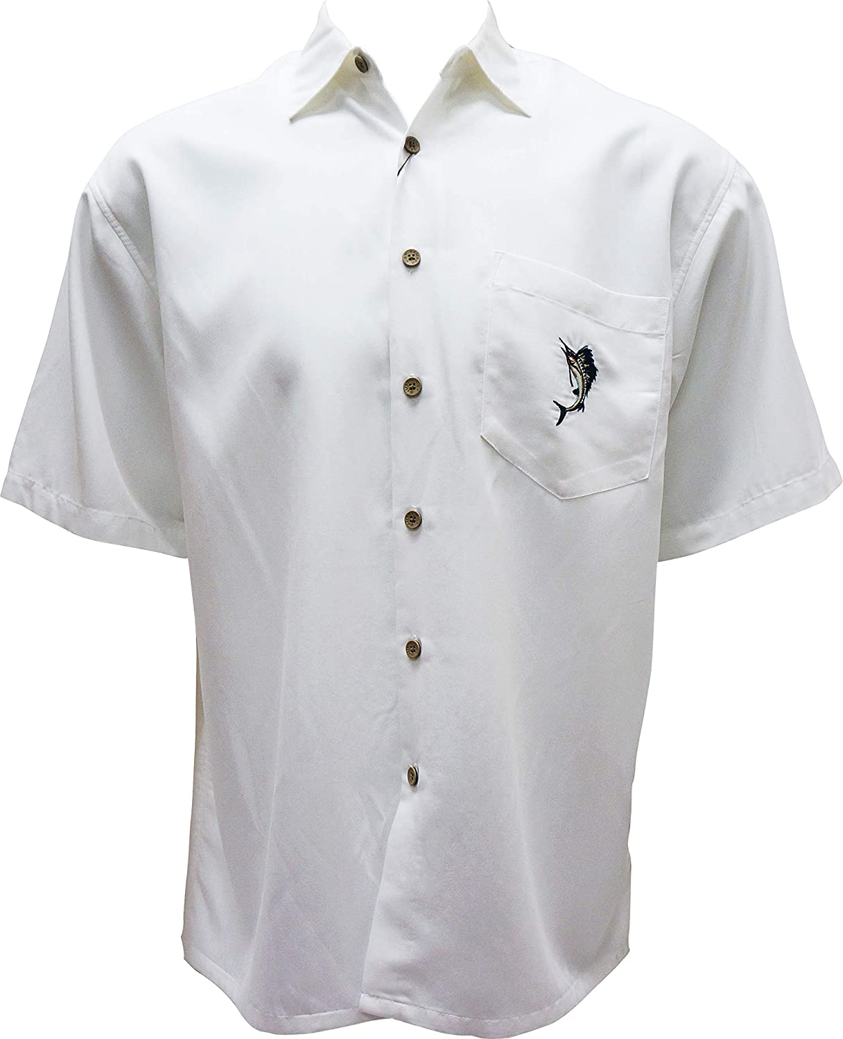 Bamboo Cay Men's Tropical Sailfish Freedom Back Embroidered Camp Shirt