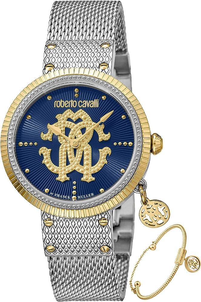 Roberto cavalli by franck muller, orologio elegante per donna,in acciaio inossidabile,include braccialetto RV1L062M0111