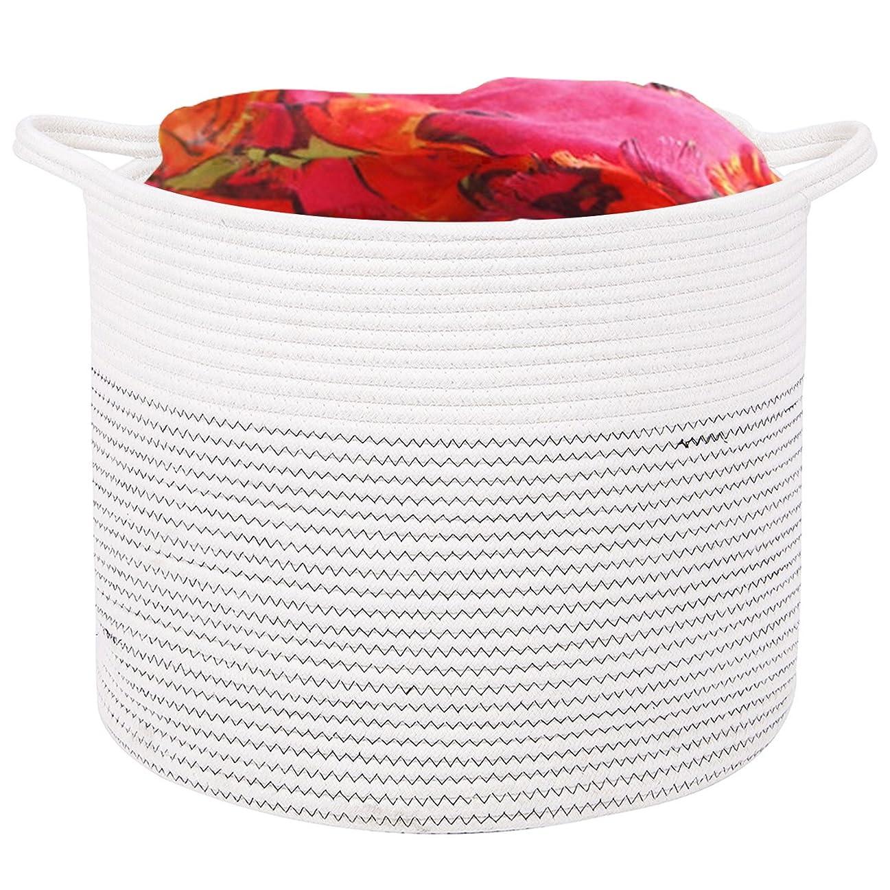 引退したスポーツをする破壊的DOKEHOM 厚い コットンロープ ランドリーバスケット - 17 Inches(D) x 14.6 Inches(H) - 収納ボックス バッグ 洗濯かご 取っ手付き 折り畳み式 大容量 (白, L)