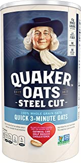 Quaker Steel Cut Oatmeal, Quick 3 Minutes To Prepare, Breakfast Cereal, 25 oz Canister
