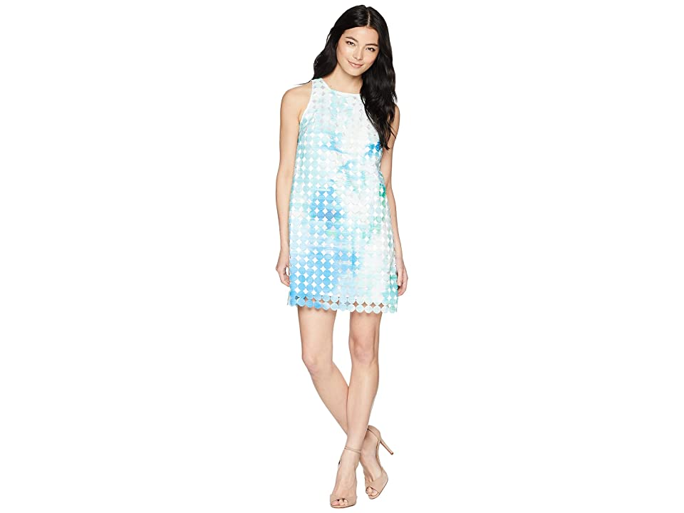 Tahari by ASL Petite Ombre Burnout Shift Dress (White/Aqua/Royal) Women