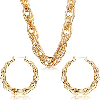 Hanpabum Gold Plated Chunky Rope Chain Necklace and Large Hollow Casting Bamboo Hoop Earrings Set for Men Women Costume Jewelry Punk Hip Hop Rapper Style