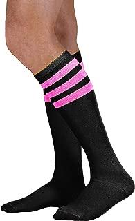 black tube socks with pink stripes