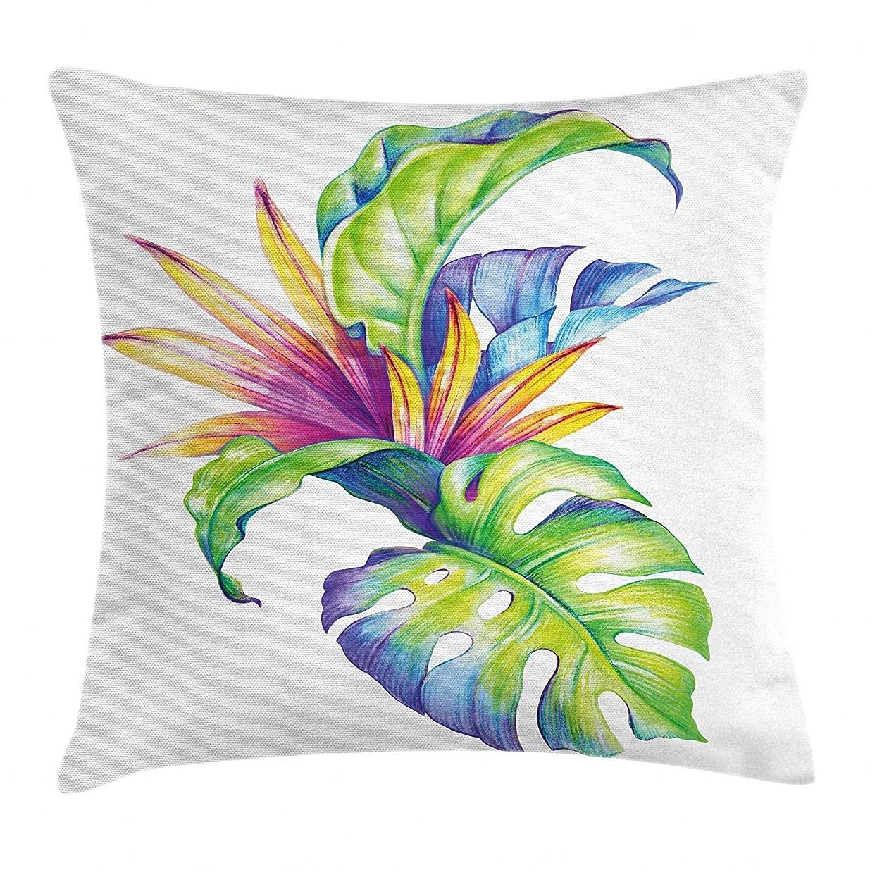 集まるためらう食用熱帯の葉と抽象的な着色されたスキームハワイアン花要素装飾的な正方形の枕カバー多色、45x45とモンステラの植物枕クッションセット
