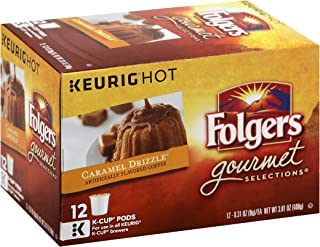 Folgers Caramel Drizzle Flavored Coffee K-cup Pods for Keurig Brewers, 12 Count