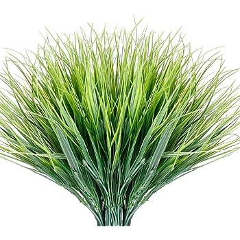 Zonlong Artificial Plants Grass 9 Bundles Fake Plastic Greenery Shrubs Grass ...