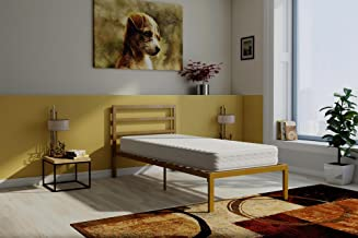 Signature Sleep Contour 8-Inch Reversible Independently Encased Coil Mattress & Premium Modern Platform Twin Gold Bed with Headboard Set
