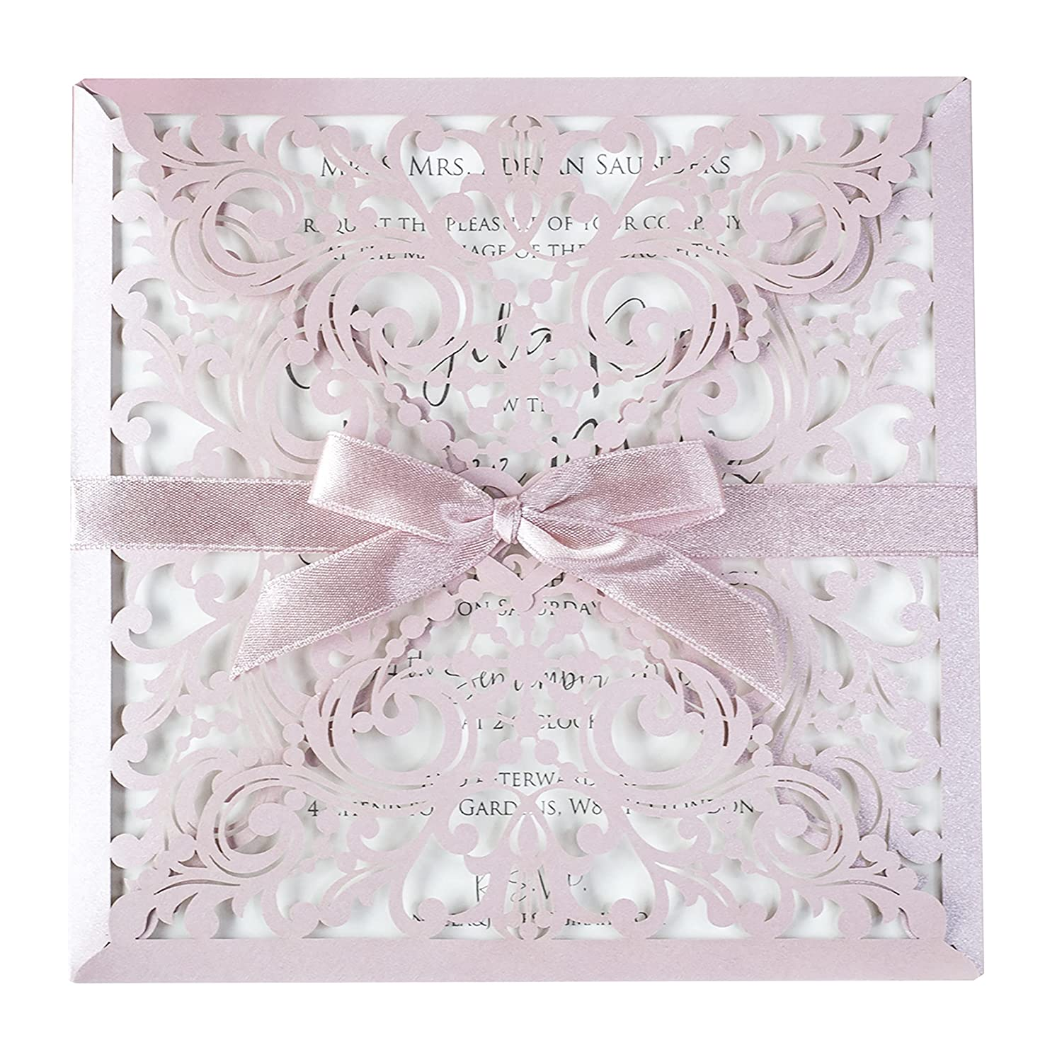 At the price 50 Cards Pack Lace Cheap sale Square Envelopes Las with Invitations Wedding