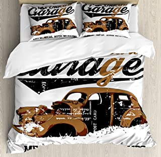 Ambesonne Cars Duvet Cover Set, Old Garage Mechanical Auto Repairs Truck Company Skull Grunge Display, Decorative 3 Piece Bedding Set with 2 Pillow Shams, Queen Size, Brown Black