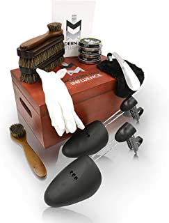 Professional 14 piece Shoe Polish Kit by Modern Man Influence for shoe cleaning, shining, polishing and storing