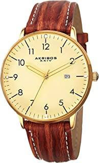 Akribos XXIV Men's Retro Swiss Quartz Watch - Easy-to-Read Arabic Numeral with Date Window On Leather Strap Watch - AK715