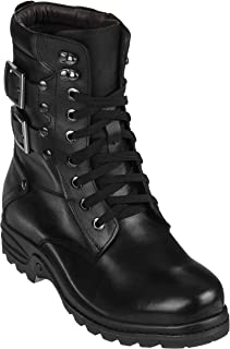 Calden Men's Invisible Height Increasing Elevator Shoes - Black Leather Lace-up High-top Military Boots - 3.1 Inches Taller - K512666