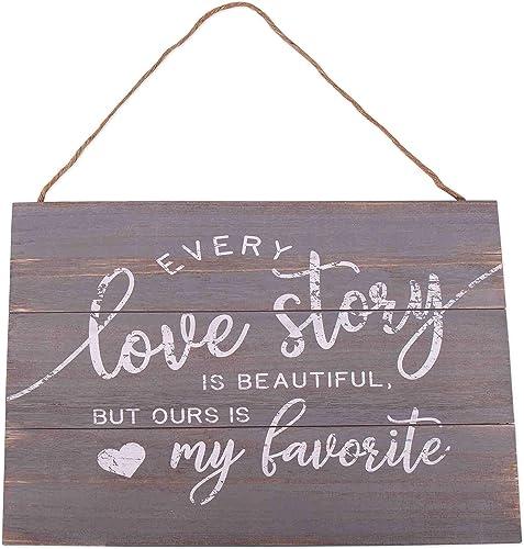 discount GSM Brands popular Love Story online sale Wood Plank Hanging Sign (15.75x13) sale
