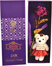Skylofts 24K Pink Rose with I Love You Teddy Bear Doll, Gift Box and Carry Bag - Best Valentine's Day Gift, Birthday Gifts Gold Dipped Rose