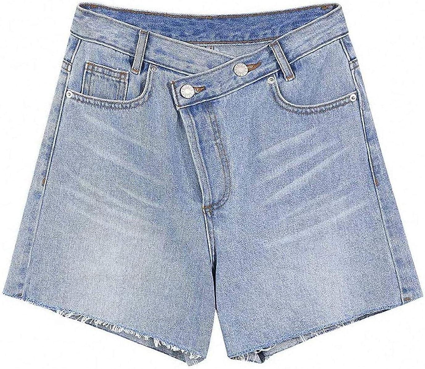 Tayaho Blue High Waist Casual Denim Shorts Women Spring Pure Raw Hem Irregular Ladies Basic Daily Bottom