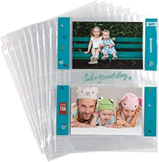 Samsill 4x6 Photo Album Pages for 3 Ring Binder/Archival Photo Sleeves/Photo Holder/Postcard Holder/Sleeve Protectors / 2 Pocket Top Loading / 25 Pack