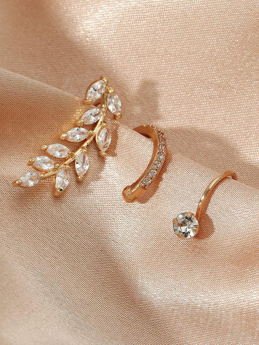 frenma Hoop Earrings 3pcs Zircon Decor Ear Cuff (Color : Gold)