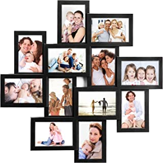 JERRY & MAGGIE - Photo Frame 24x24 Square Storm Eye Black PVC Picture Frame Selfie Gallery Collage Wall Hanging for 6x4 Photo - 12 Photo Sockets - Wall Mounting Design