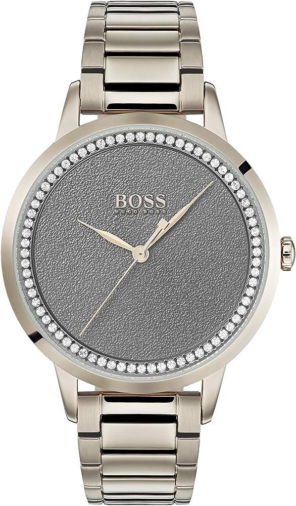 Hugo boss, orologio  per donna  in acciaio inossidabile,quadrante grigio decorato con cristalli 1502463